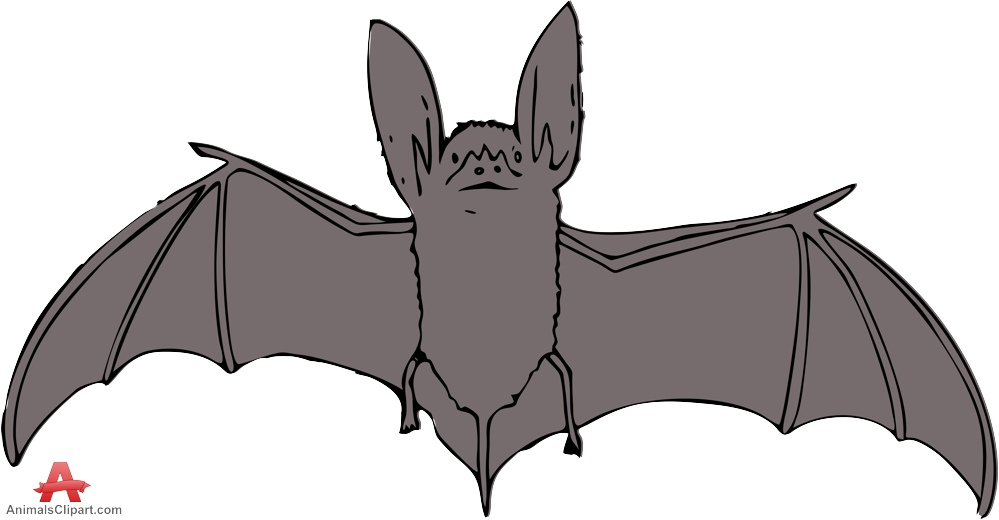 Bat with Open Wings Clipart.