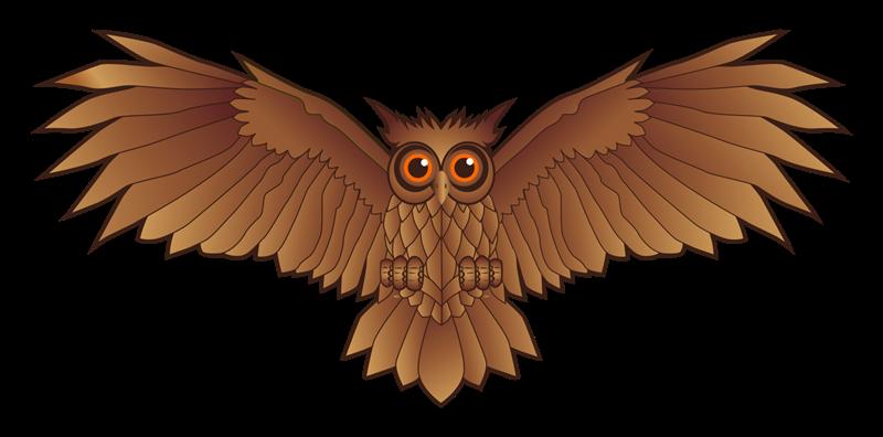 Free Owl Spread Wings Clip Art.