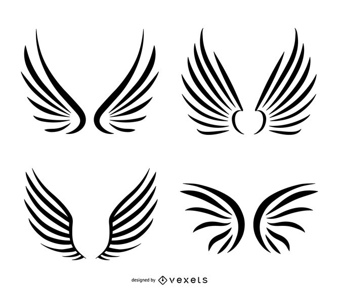 Isolated wings line art set.