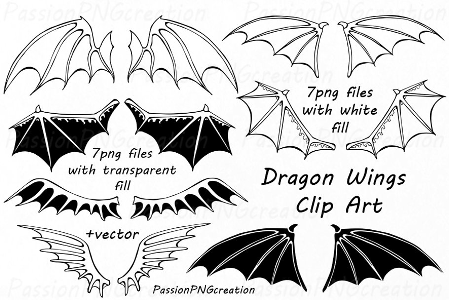 Dragon Wings Clipart.
