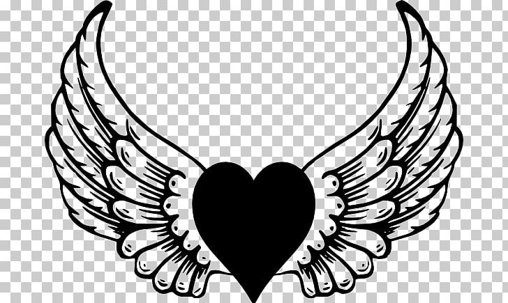 Angel Drawing , Heart With Wings PNG clipart.