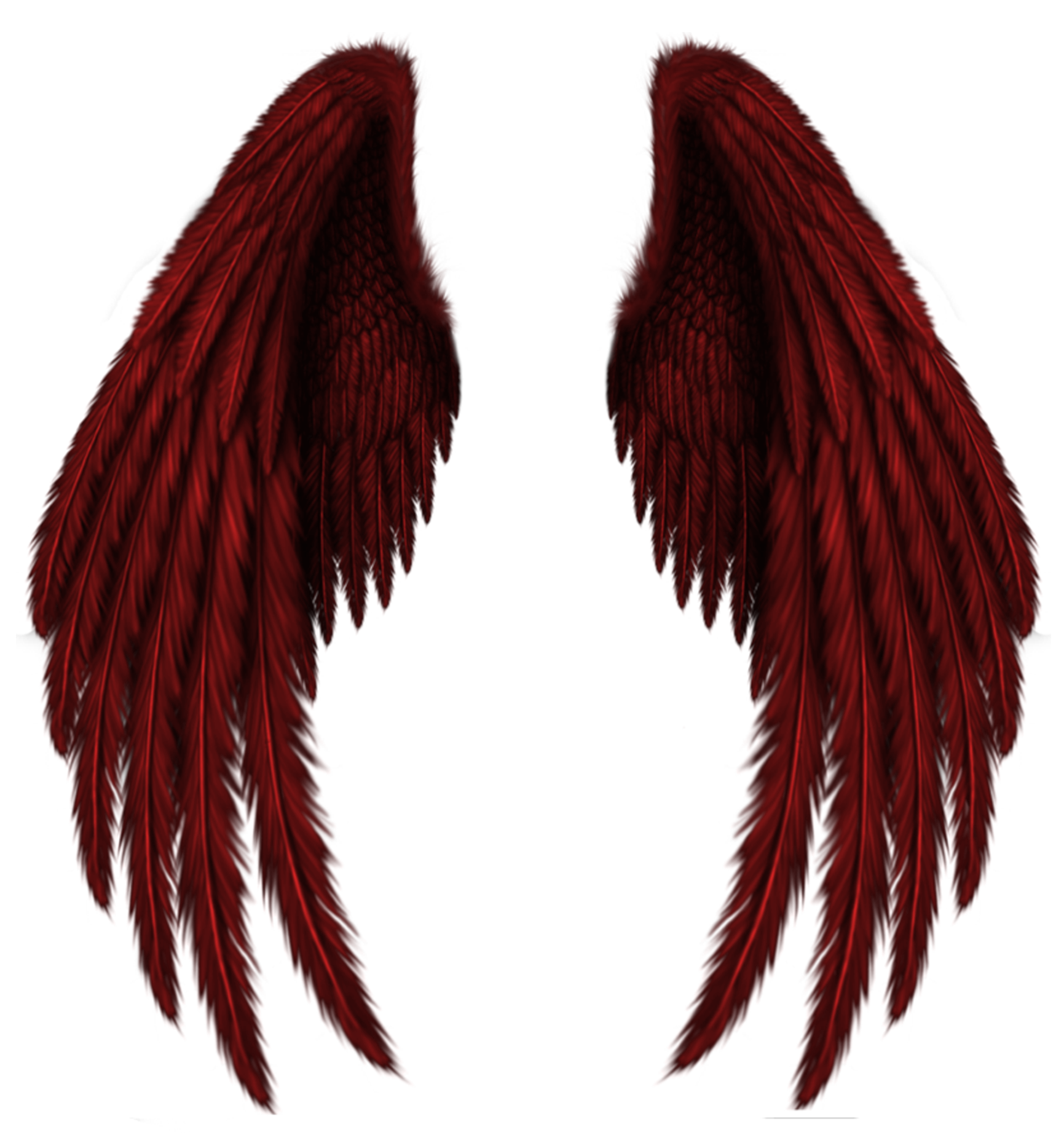 Transparent Red Wings PNG Clipart Picture.
