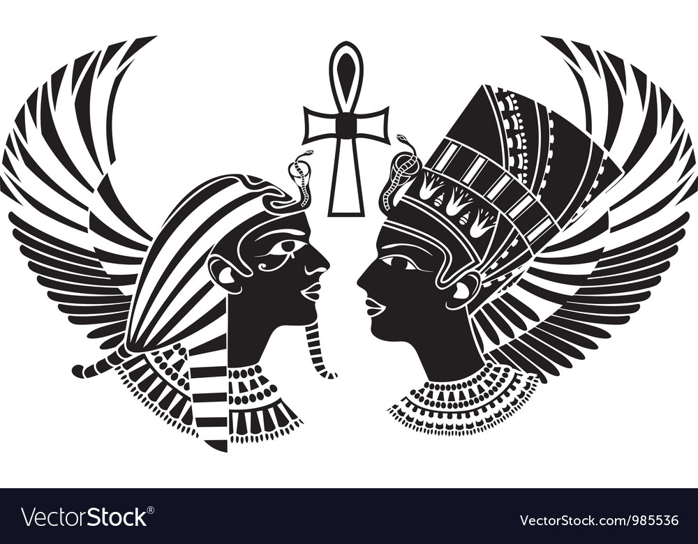 Ancient egypt king and qeen with wings.