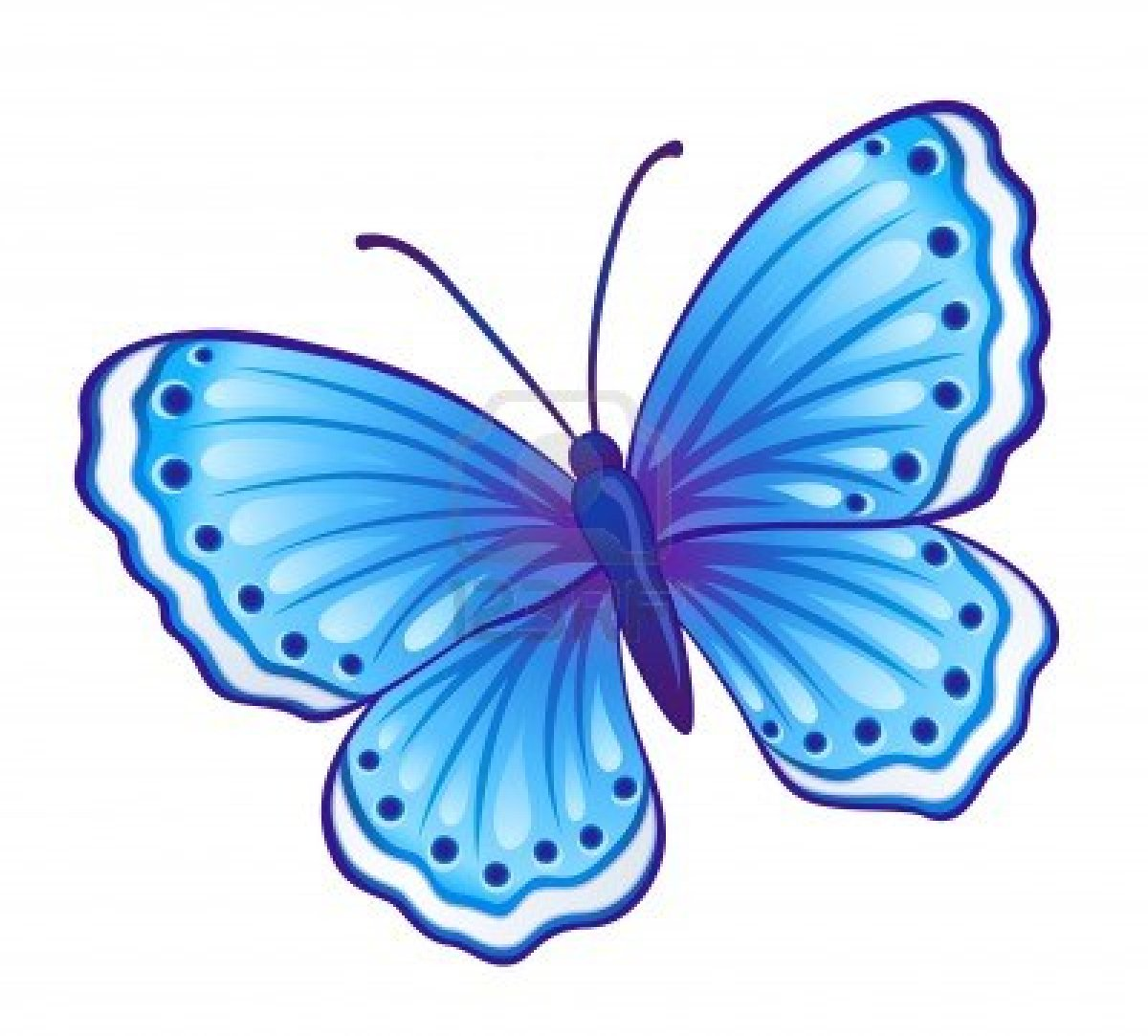 Vector Blue Butterfly Polyommatus Icarus With Open Wings.