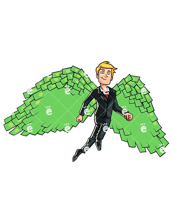 A Man Flying Upwards With Wings Made Of Money.