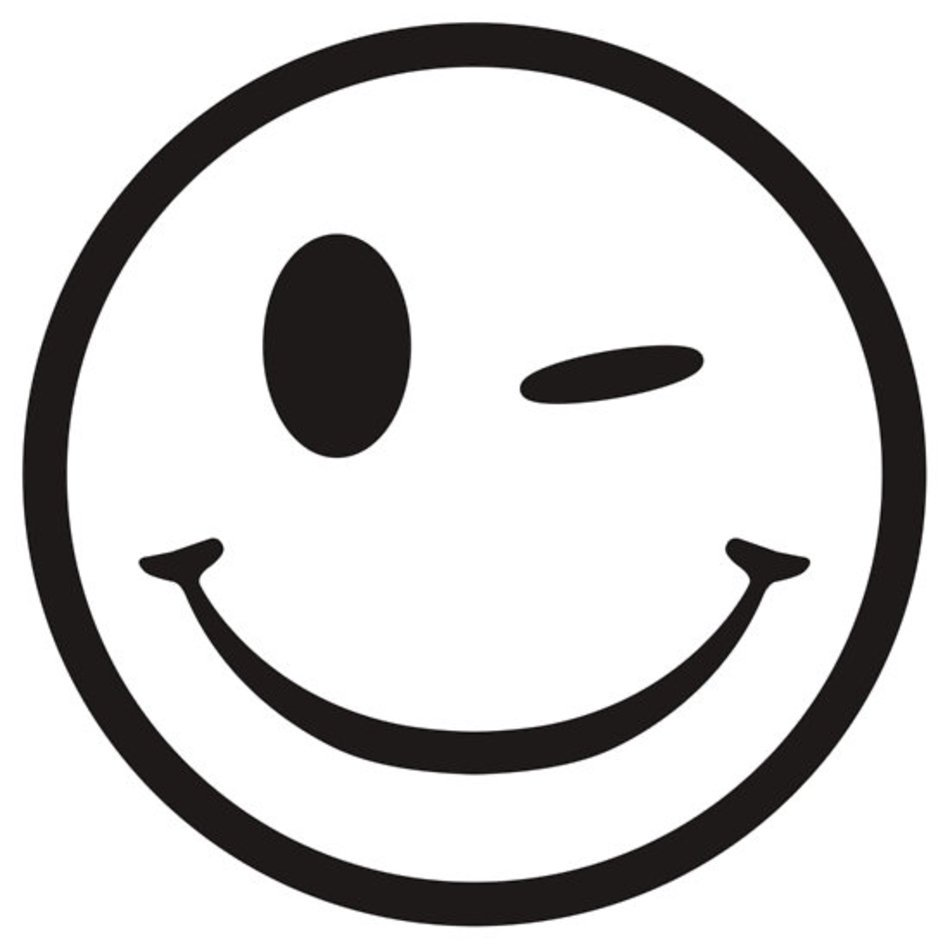 Winking Smiley Face Clip Art Black And White free image.