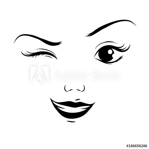 Winking with one eye, cartoon face, vector.