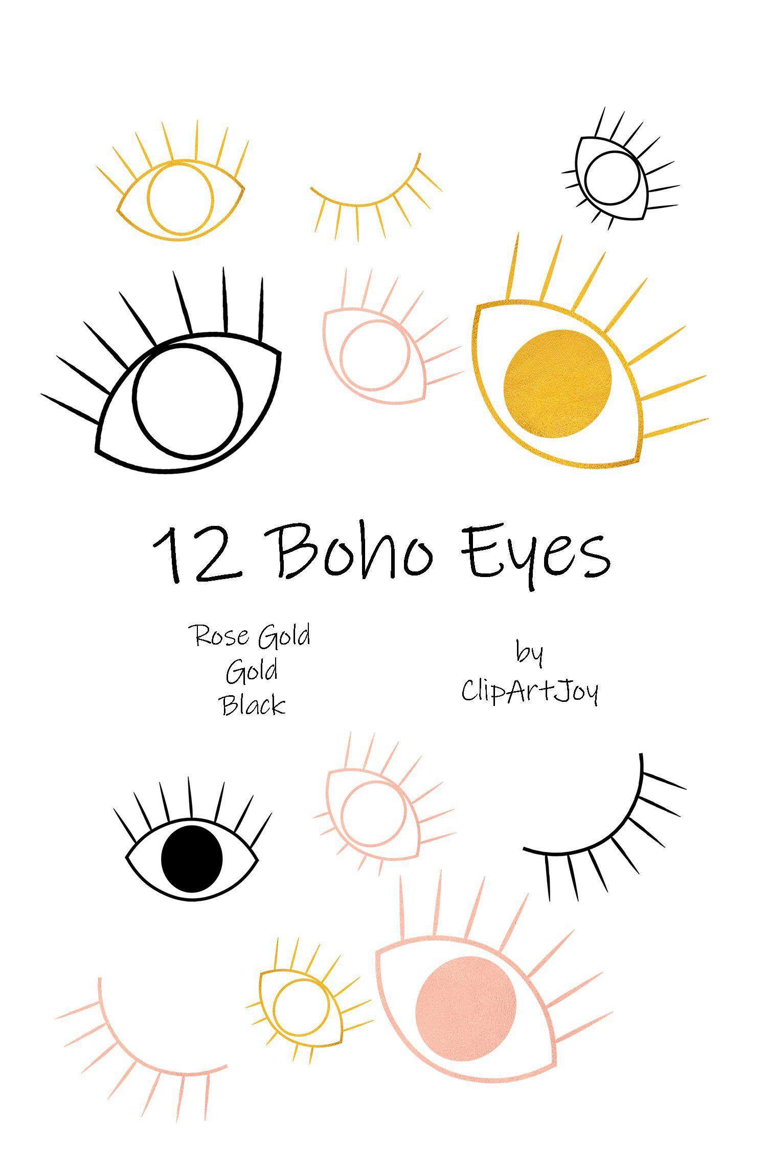 Tribal, Boho, Winking Eyes, Evil Eye Clipart: Set of 12.