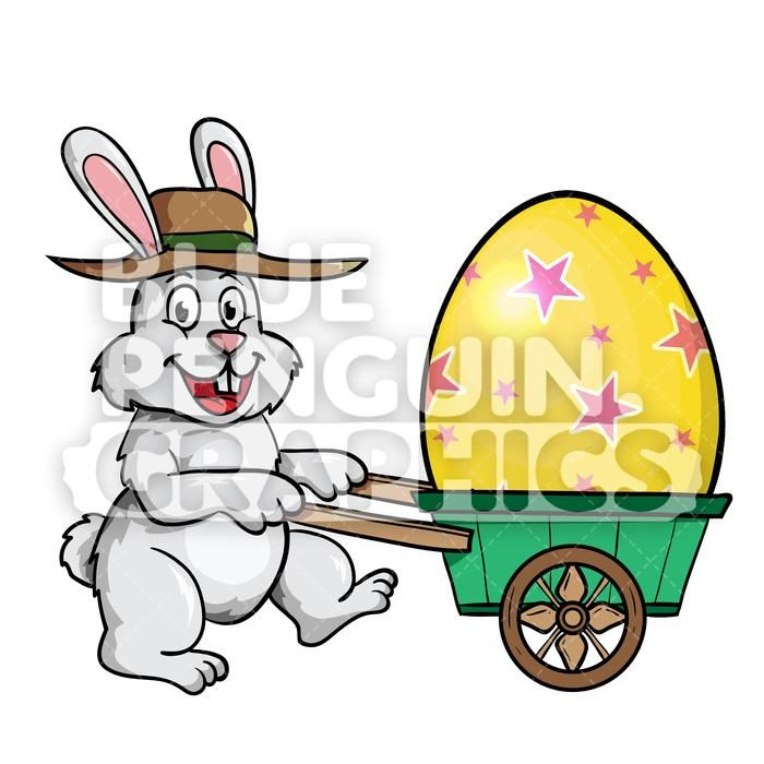 Easter Rabbit Egg On Wheels Vector Cartoon Clipart.