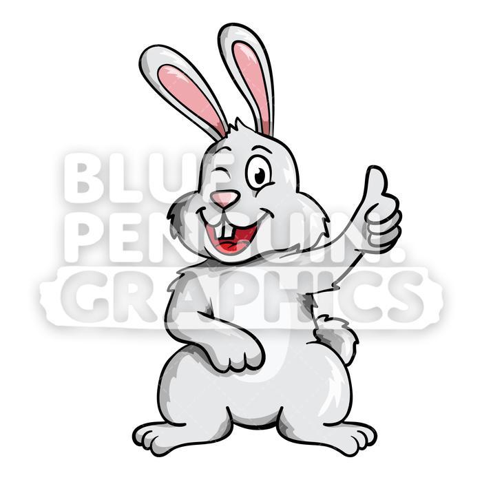 Rabbit Winking Cute Vector Cartoon Clipart Illustration.