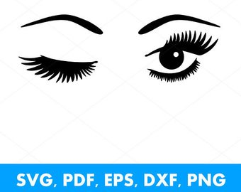 80% Off Sale, Winking Lashes SVG, Wink E #87865.