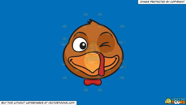 Clipart: A Winking Turkey on a Solid Spanish Blue 016Fb9 Background.