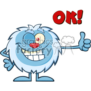 Cute Little Yeti Cartoon Mascot Character Winking And Holding A Thumb Up  Vector With Text OK! clipart. Royalty.