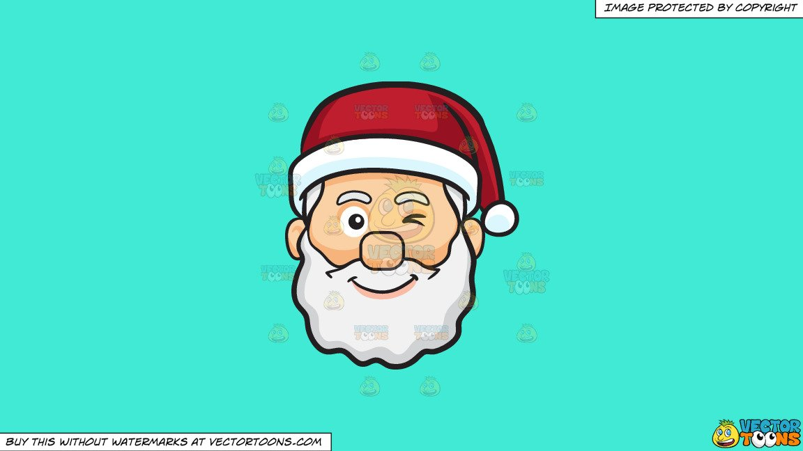 Clipart: A Winking Face Of Santa Claus on a Solid Turquiose 41Ead4  Background.