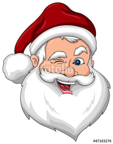 Winking Santa Claus Face Side View\