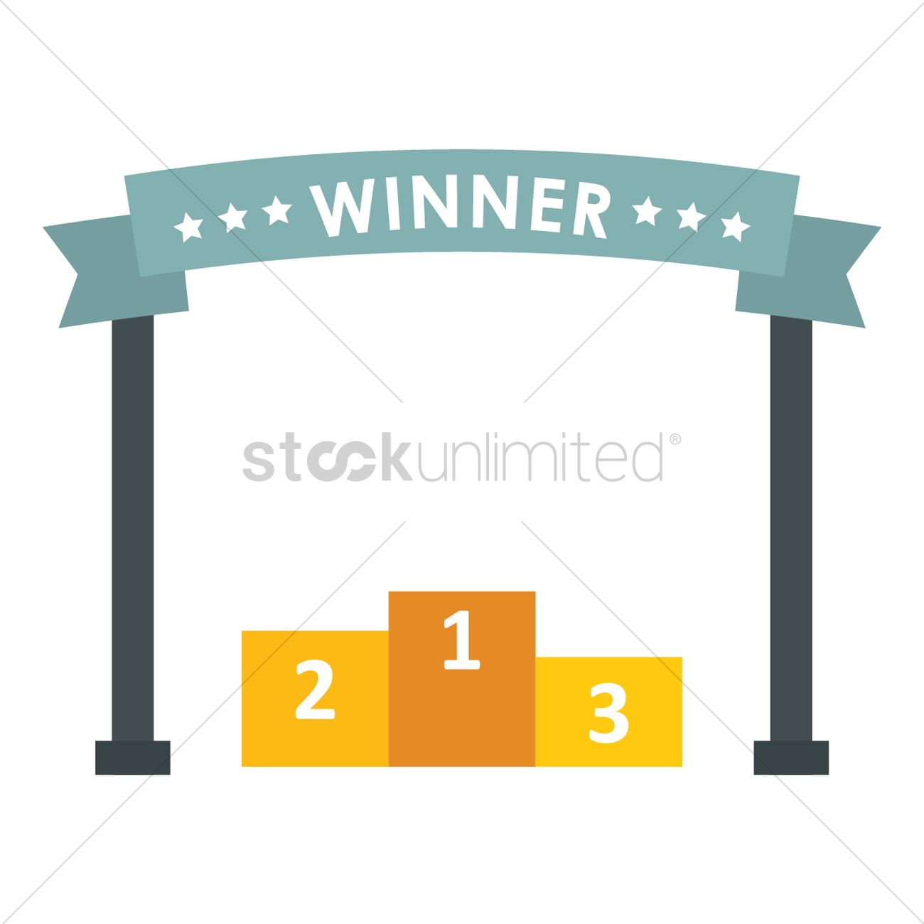 Winner banner with podium Vector Image.