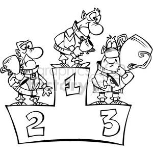 black and white cartoon winner podium clipart. Royalty.