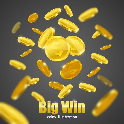 Big Win Gold Coins Advertisement Background Poster.