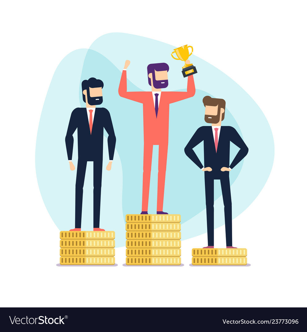 Businessman winner standing on gold coin.