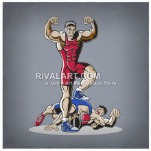 Wrestlers Graphic In Color Mens Match Wrestling Flexing Winner.