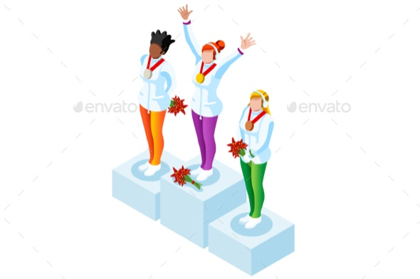 Podium Clipart Winter Sports Winners.