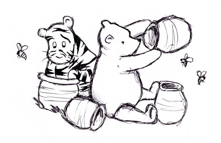 Vintage Winnie The Pooh Clipart Black And White.
