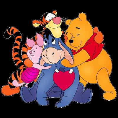 winnie the pooh hugging.