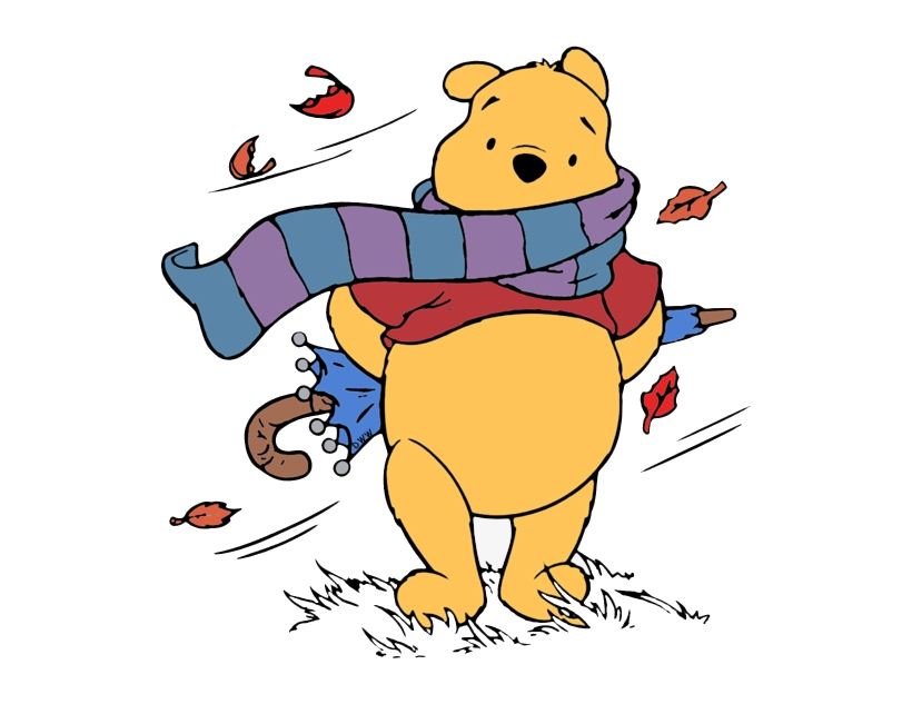 Fall Clipart Windy Pencil And In Color Winnie The Pooh Png.