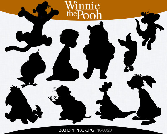 Winnie the Pooh Instant Download silhouette by pinkykatieclipart.