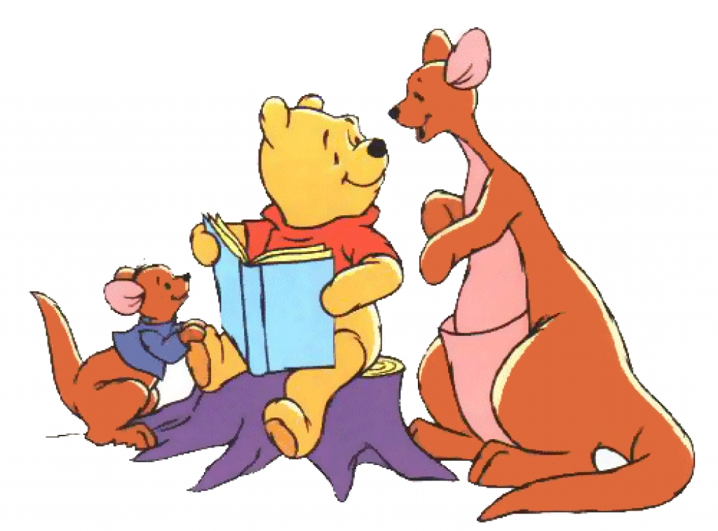Winnie the pooh reading a book to his friends two kangaroos.