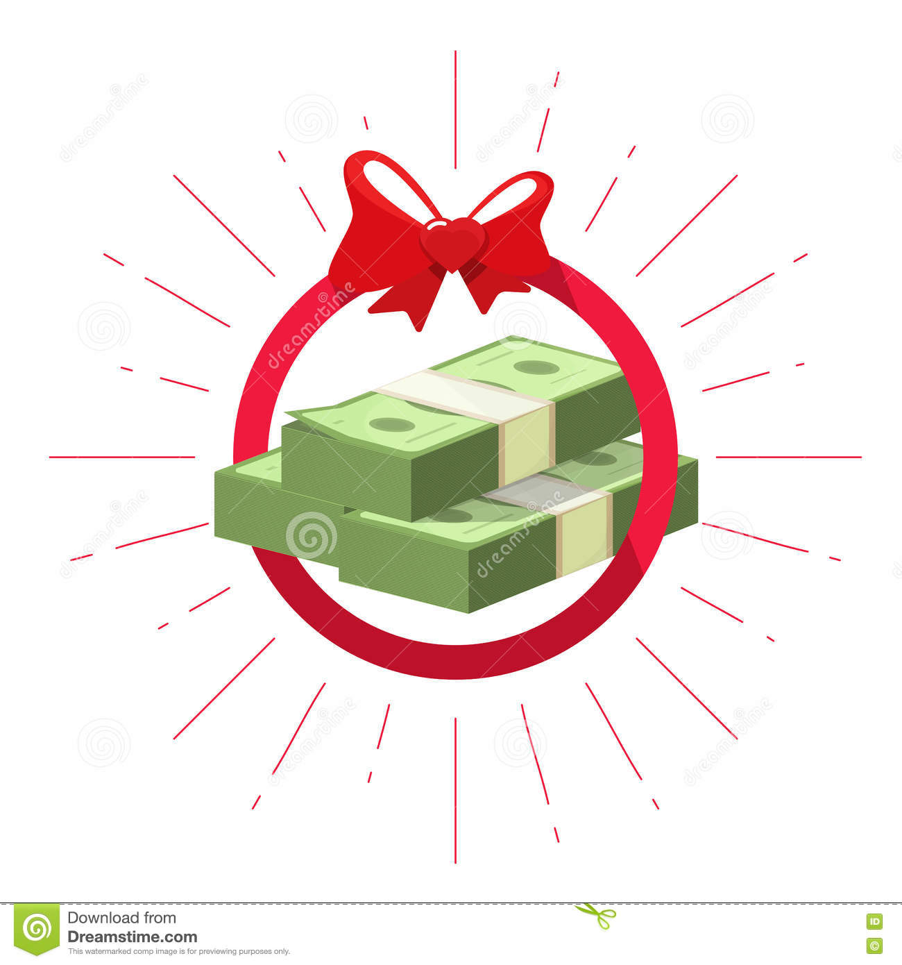 Money Prize Offer Win Vector, Pile Of Cash Bundle Gift Stock Vector.