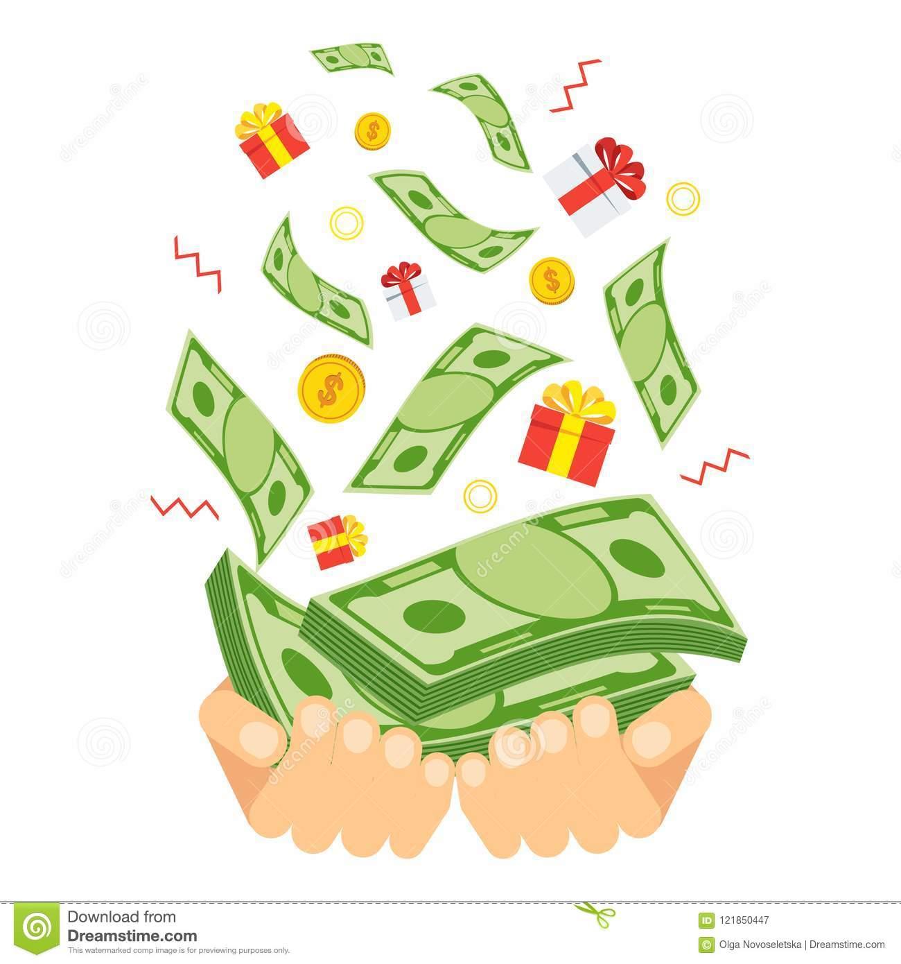 Cash prize winnings stock vector. Illustration of success.