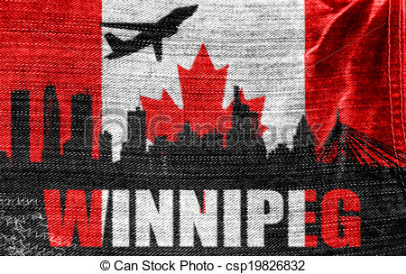 Drawings of View of Winnipeg on the Canadian flag on the jeans.