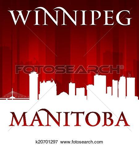 Clip Art of Winnipeg Manitoba Canada city skyline silhouette.