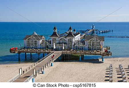 Stock Images of Pier of Sellin at the Baltic Sea, Germany.