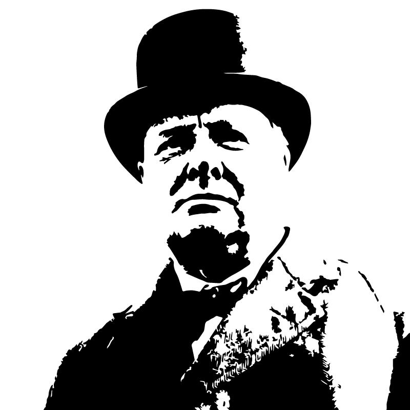 Sir Winston Churchill Vector Silhouette Clip Art Free.