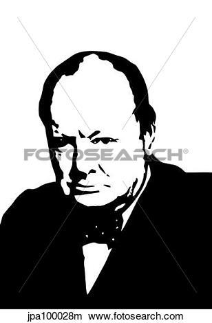 Drawings of Vector illustration of Sir Winston Churchill.