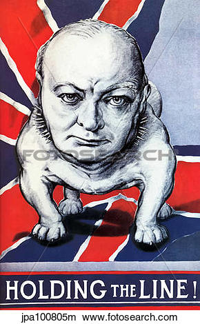 Drawings of Vintage World War II poster of Winston Churchill as a.
