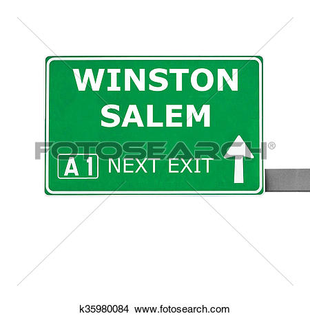 Drawings of WINSTON SALEM road sign isolated on white k35980084.