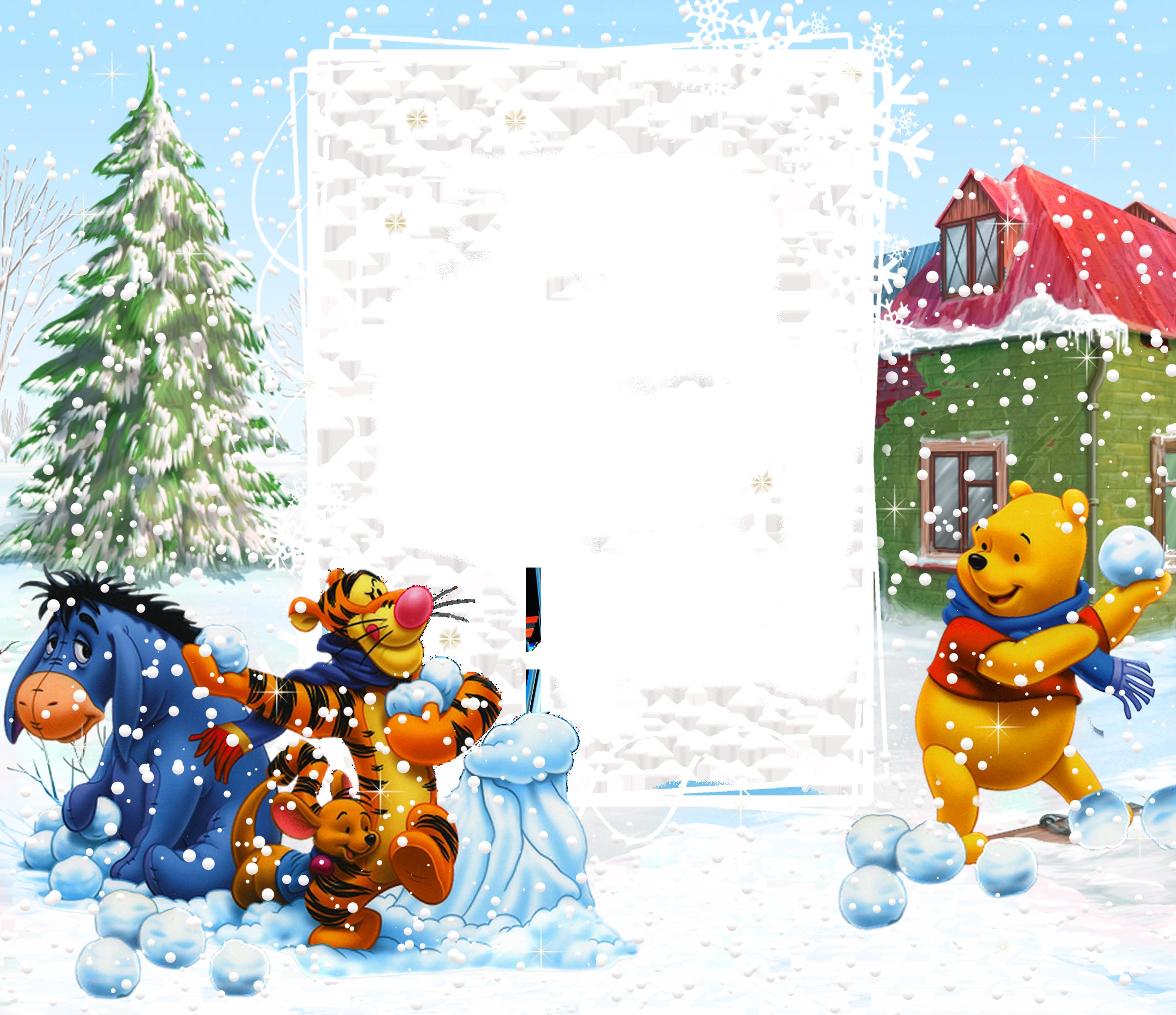 Winnie the Pooh Winter PNG Kids Frame.