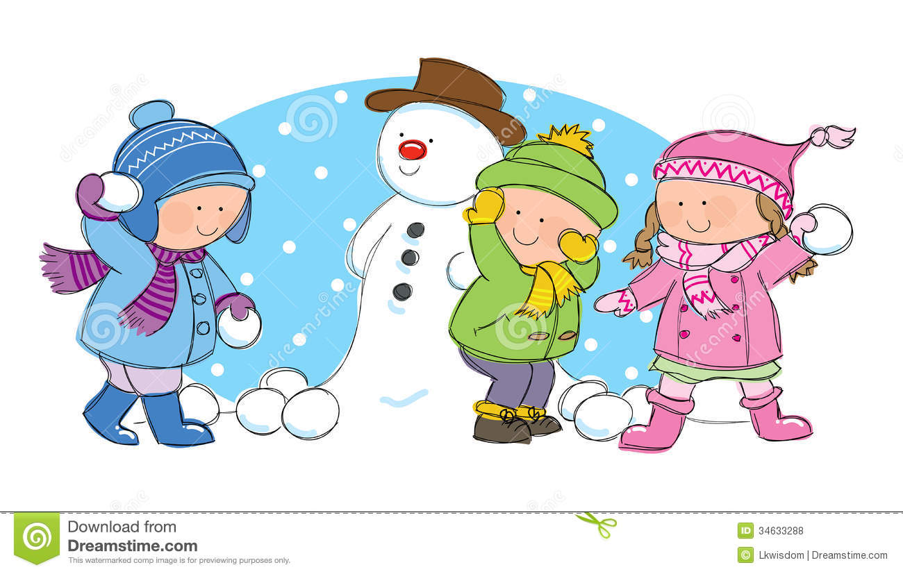 Family Playing In The Snow Clipart.