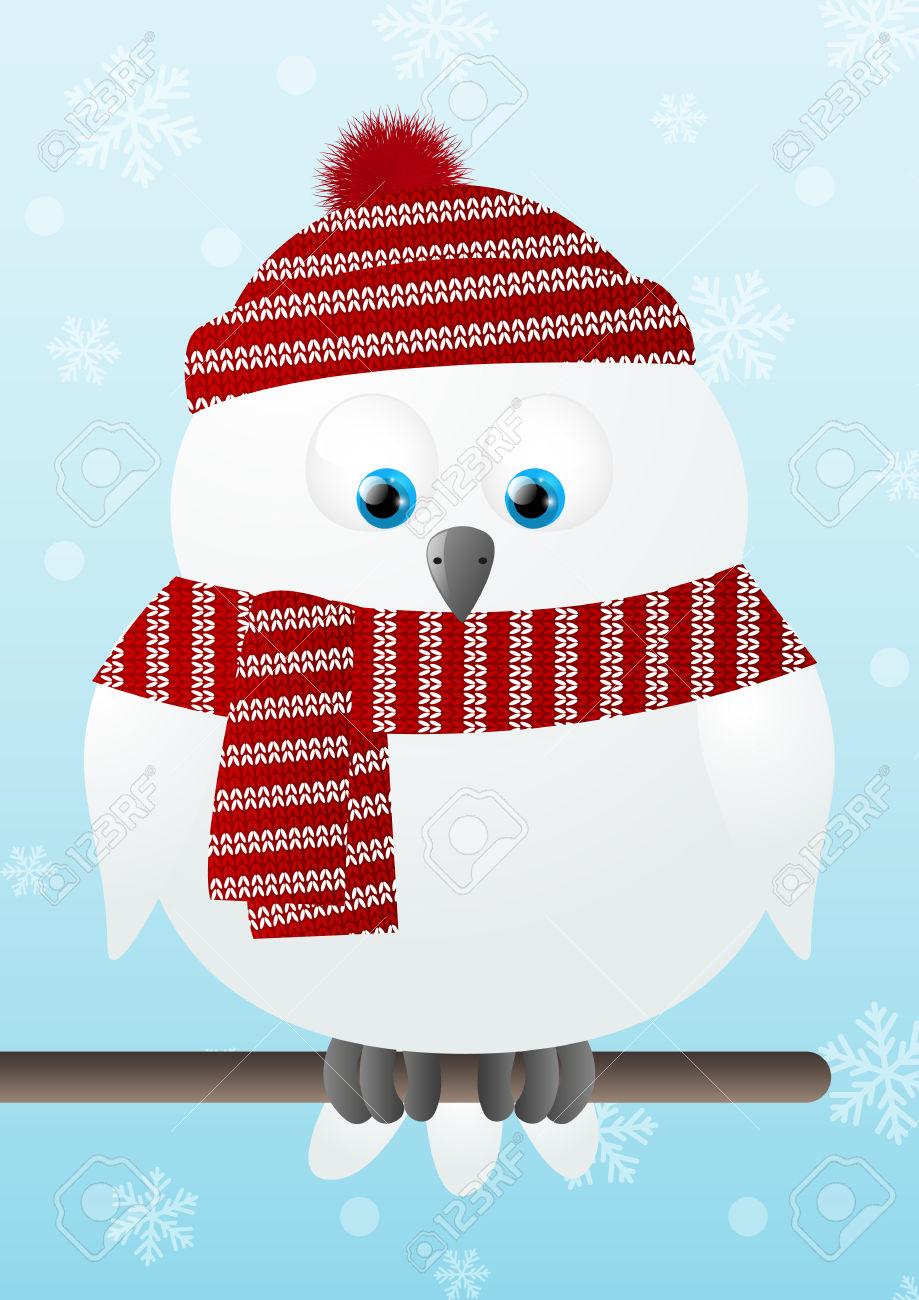 Cute Snowy Owl Clipart.
