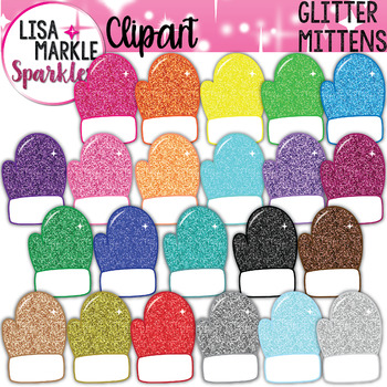 Mitten Clipart Winter with Glitter.