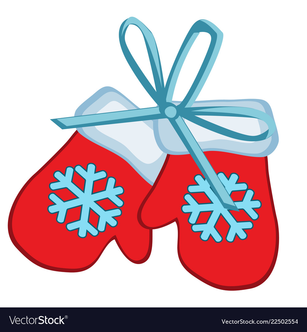 Christmas toy in the form of red winter mittens.