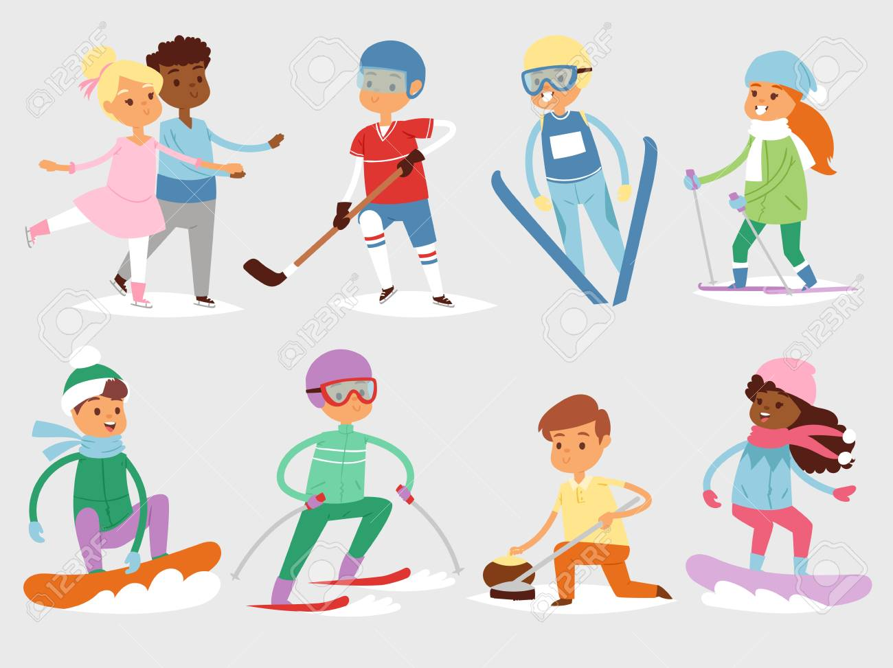 Winter sports activities with kids..