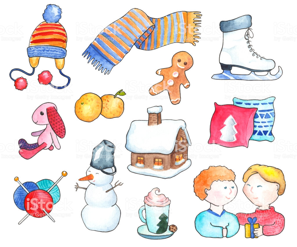 Cozy Winter Objects Watercolor Illustration Handdrawn Clipart Winter.