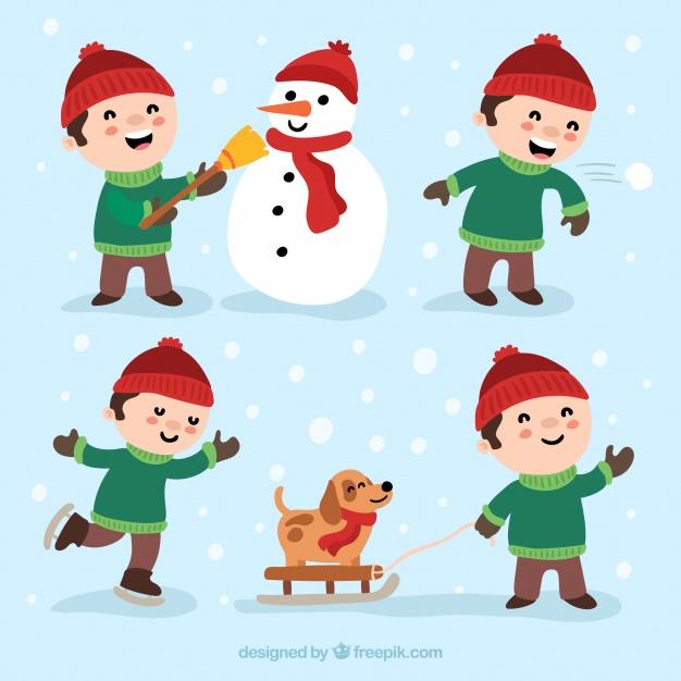Kids doing winter activities Vector.