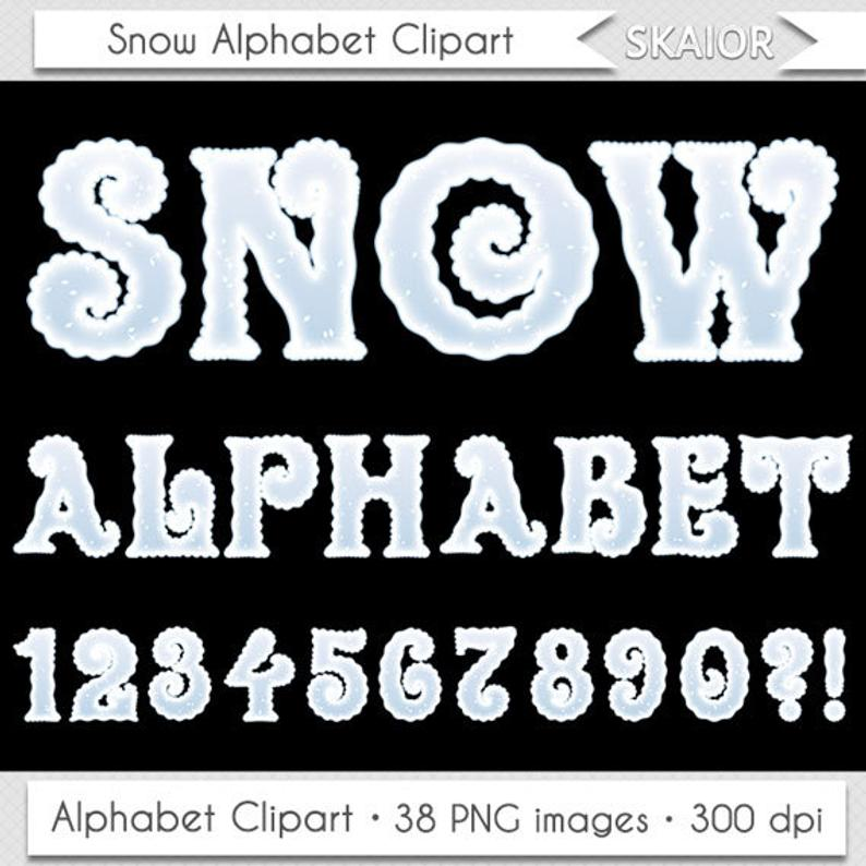 Christmas Alphabet Clipart Winter Alphabet Clipart Snow Alphabet Clip Art  Frozen Alphabet Clipart Letters Scrapbooking Numbers Text Clipart.