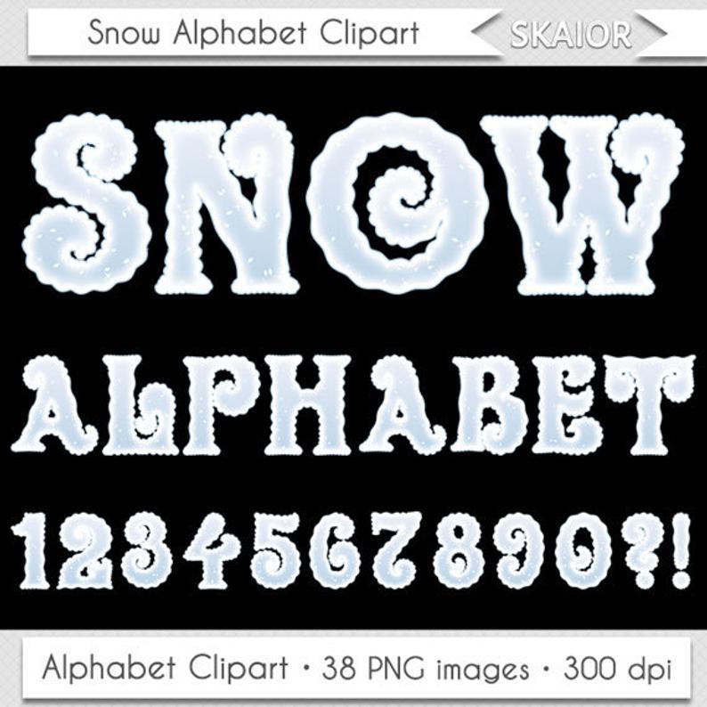 Christmas Alphabet Clipart Winter Alphabet Clipart Snow Alphabet Clip Art  Frozen Alphabet Clipart Letters Scrapbooking Numbers Text Clipart.