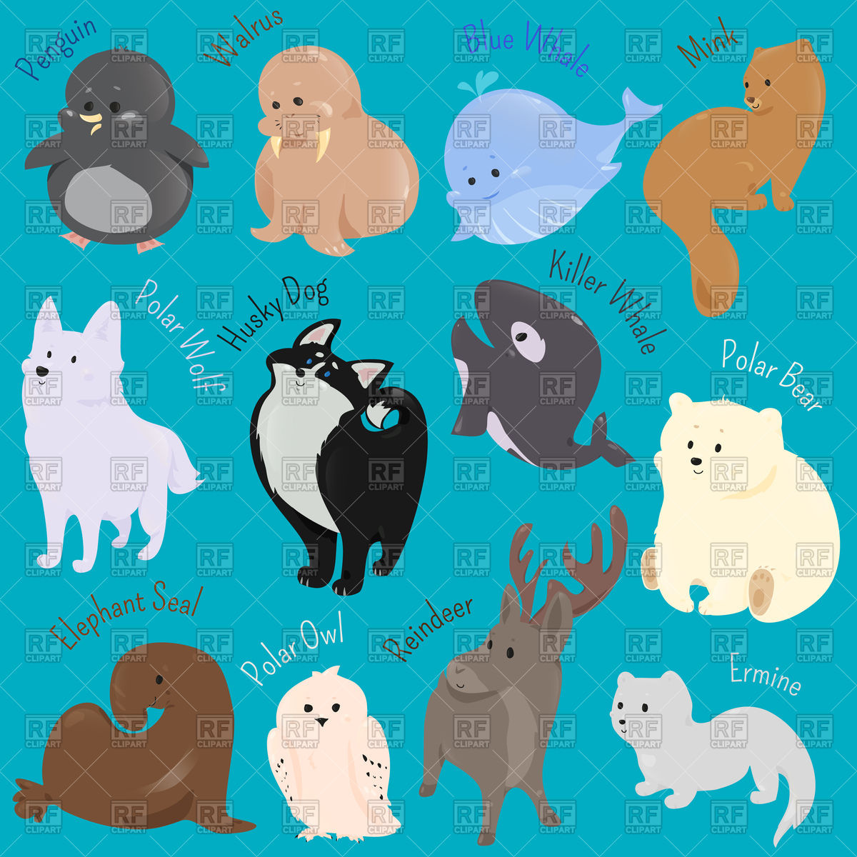 Set of cute cartoon winter animals Stock Vector Image.
